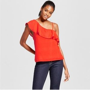 J by JOA Woven One Shoulder Top Size Medium